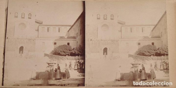 Fotografía antigua: ESTEREOSCÓPICA.- BURGOS.- FUENTE Y FACHADA DEL MONASTERIO DE ORIA - Foto 2 - 156557102