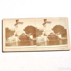 Fotografía antigua: ESTEREOSCÓPICA.- MADRID.- FUENTE PLAZA DE ORIENTE. MONUMENTO A FELIPE IV.. Lote 156557898