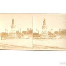 Fotografía antigua: ESTEREOSCÓPICA.- MADRID.- ESTATUA LOPEZ DE VEGA. PASEO RUBEN DARIO. Lote 156561214
