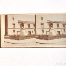 Fotografía antigua: ESTEREOSCÓPICA.- MADRID.- MONUMENTO A DON ÁLVARO DE BAZÁN. PLAZA DE LA VILLA, MADRID. Lote 156561630