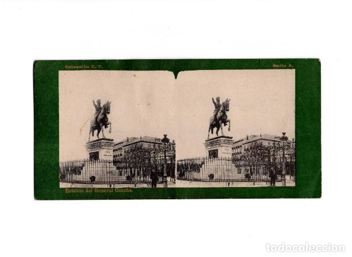 Fotografía antigua: DOBLE ESTEREOSCÓPICA.- (VER FOTOS). MADRID.- ESTATUA DEL GENERAL CONCHA. FOTOTIPIA. LAURENT. - Foto 1 - 156772554