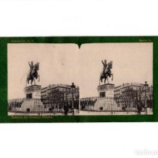 Fotografía antigua: DOBLE ESTEREOSCÓPICA.- (VER FOTOS). MADRID.- ESTATUA DEL GENERAL CONCHA. FOTOTIPIA. LAURENT.. Lote 156772554