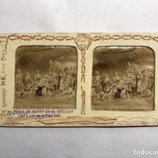 Fotografía antigua: SEMANA SANTA. LA VIDA DE JESÚS. ESTEREOSCOPÍCAS NO.22, JESUS ES PUESTO EN EL SEPULCRO (H.1890?). Lote 157021220