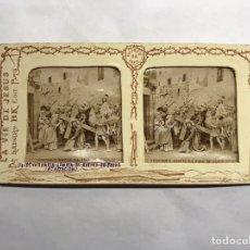 Fotografía antigua: SEMANA SANTA. LA VIDA DE JESÚS. ESTEREOSCOPÍCAS NO.14, VERÓNICA LIMPIA EL ROSTRO DE JESUS. Lote 157031484