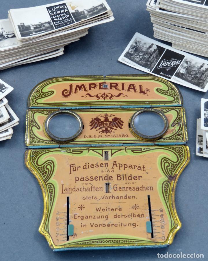 Fotografía antigua: Visor estereoscópico Imperial hojalata litografiada con 176 vistas estereoscópicas PP S XX - Foto 2 - 162931390