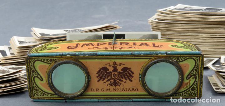 Fotografía antigua: Visor estereoscópico Imperial hojalata litografiada con 176 vistas estereoscópicas PP S XX - Foto 3 - 162931390