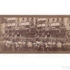 Fotografía antigua: ESTEREOSCÓPICA.- MADRID.- COCHE DE LA CORONACIÓN. TEATRO JAPONES. CALLE ALCALÁ.. Lote 165741686
