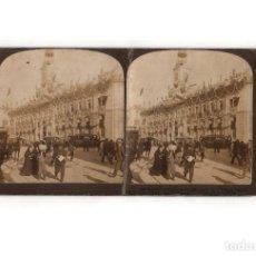 Fotografía antigua: ESTEREOSCÓPICA.- MADRID.- PUERTA DEL SOL.EDIFICIO EMPAVESADOS. BODA REAL ALFONSO XIII.. Lote 165825666