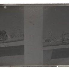 Fotografía antigua: LOTE DE 2 CRISTALES ESTEREOSCOPICOS BARCELONA PUERTO NEGATIVO FOTOGRÁFICO. Lote 166145750