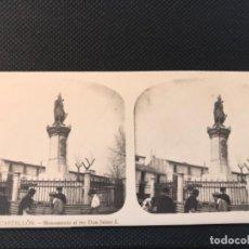 Fotografía antigua: ESTEREOSCOPICA DE CASTELLON Nº 6 EL TURISMO PRACTICO MONUMENTO AL REY DON JAIME I A. MARTIN. Lote 166678098