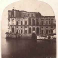 Fotografía antigua: PALACIO DE LA REINA, NÁPOLES, ITALIA. 1860 APROX. 8,5X17,5 CM.. Lote 167951432