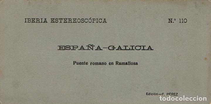 Fotografía antigua: VISTA ESTEREOSCÓPICA. PUENTE ROMANO EN RAMALLOSA. (PONTEVEDRA) - Foto 2 - 169932740