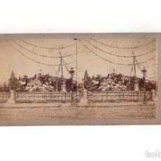 Fotografía antigua: ESTEREOSCÓPICA.- MADRID.- PLAZA CIBELES. ADORNADA PARA A CORONACIÓN ALFONSO XIII.. Lote 171137315
