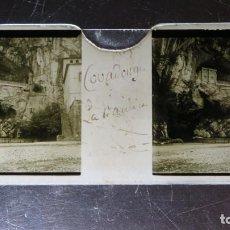 Fotografía antigua: FOTOGRAFIA ESTEREOSCOPICA EN CRISTAL. SANTUARIO COVADONGA. CA. 1900. Lote 171142288