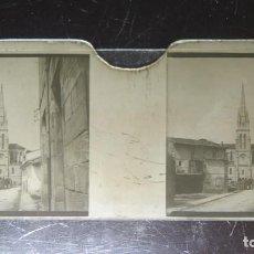 Fotografía antigua: FOTOGRAFIA ESTEREOSCOPICA EN CRISTAL. IGLESIA. TORRELAVEGA. CA. 1900. Lote 171272658