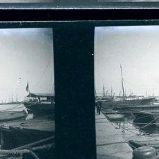 Fotografía antigua: VALENCIA PUERTO NEGATIVO CRISTAL ESTEREOSCOPICO . Lote 171517885