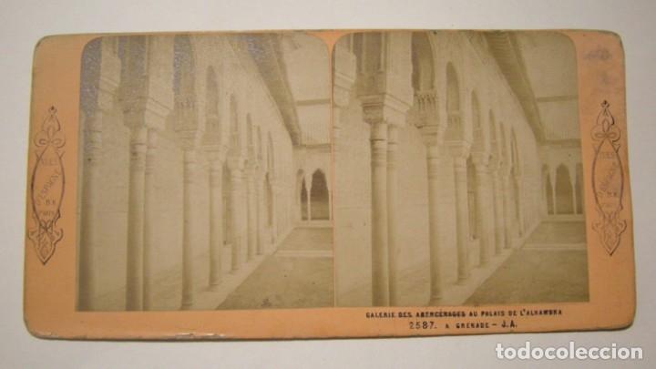 FOTOGRAFIA ESTEREOSCOPICA GALERIA DES ABENCERAGES PALACIO DE LA ALHAMBRA. VUES D'ESPAGNE PARIS (Fotografía Antigua - Estereoscópicas)