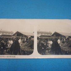 Fotografía antigua: FOTO ESTEREOSCOPICA, COLECCIÓN A. MARTIN, N °6 HUELVA - EL MERCADO. Lote 176202792