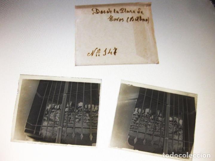 Fotografía antigua: Lote de Placas estereoscópicas. Toros en Bilbao. Principios del siglo XX. Toro fogeado. M. Riaza. - Foto 3 - 176290105