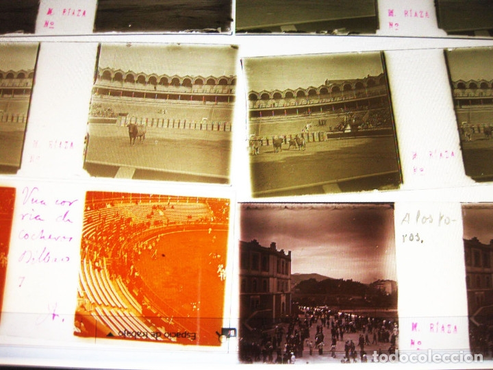 Fotografía antigua: Lote de Placas estereoscópicas. Toros en Bilbao. Principios del siglo XX. Toro fogeado. M. Riaza. - Foto 16 - 176290105