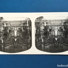 Fotografía antigua: ANTIGUA ESTEREOSCOPIA MONTSERRAT A MARTIN ESTEREOSCOPICA 15 INTERIOR BASILICA EL TURISMO PRACTICO . Lote 176615335