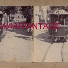Fotografía antigua: SEVILLA, 1908,TRANVIA POR LA PLAZA DE SANTO TOMAS, RARISIMA. Lote 176677778