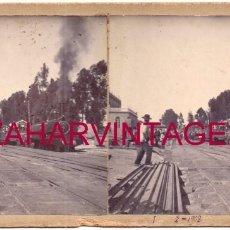 Fotografía antigua: 1908, ESTACION DE FERROCARRIL DE VALVERDE DEL CAMINO, HUELVA, FOT.BORRERO. Lote 176678207