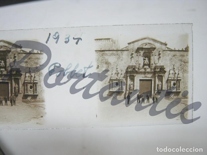 AÑO 1934 POBLET TARRAGONA - FACHADA PUERTA DEL MONASTERIO (Fotografía Antigua - Estereoscópicas)