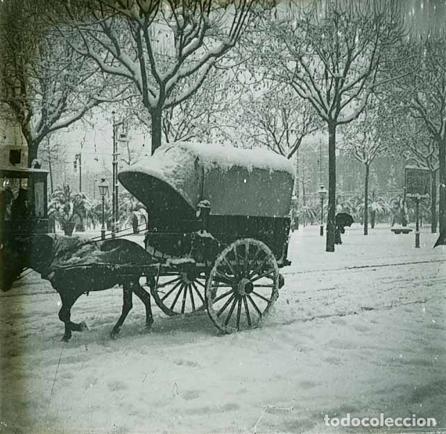 BARCELONA. PLAZA DE CATALUNYA. CARRUAJE. NEVADA DEL 1913 (Fotografía Antigua - Estereoscópicas)