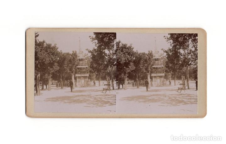 MADRID.- PARQUE DEL RETIRO. CORONACIÓN ALFONSO XIII. INSTALACIONES RELOJES. (Fotografía Antigua - Estereoscópicas)