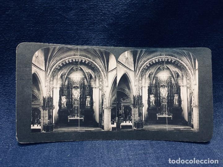 FOTOGRAFIA IBERIA ESTEREOSCOPICA PONTEVEDRA N 76 INTERIOR SE STA MARIA VER FOTOS 9X18CMS (Fotografía Antigua - Estereoscópicas)