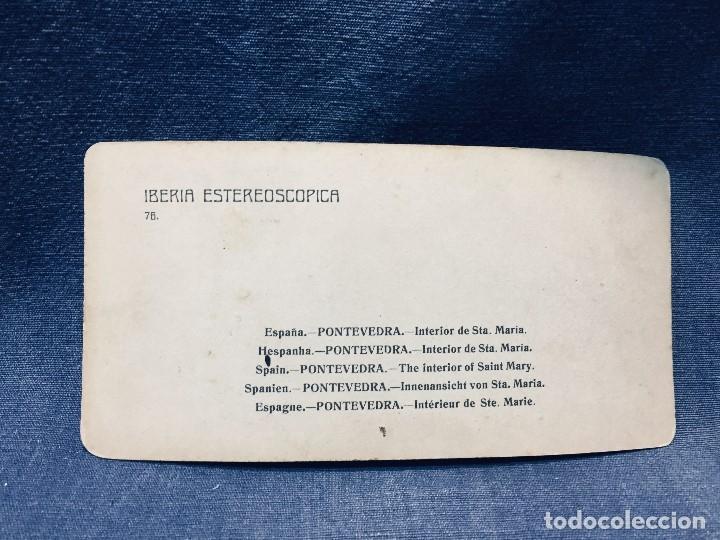 Fotografía antigua: FOTOGRAFIA IBERIA ESTEREOSCOPICA PONTEVEDRA N 76 INTERIOR SE STA MARIA VER FOTOS 9X18CMS - Foto 2 - 178055778