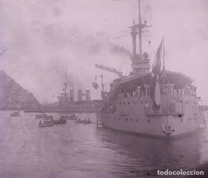 BARCELONA. PUERTO. GRANDES BUQUES DE GUERRA. C.1930 (Fotografía Antigua - Estereoscópicas)