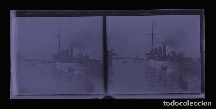 Fotografía antigua: Barcelona. Puerto. Buque de guerra. Preciosa foto. c. 1930 - Foto 2 - 178084399