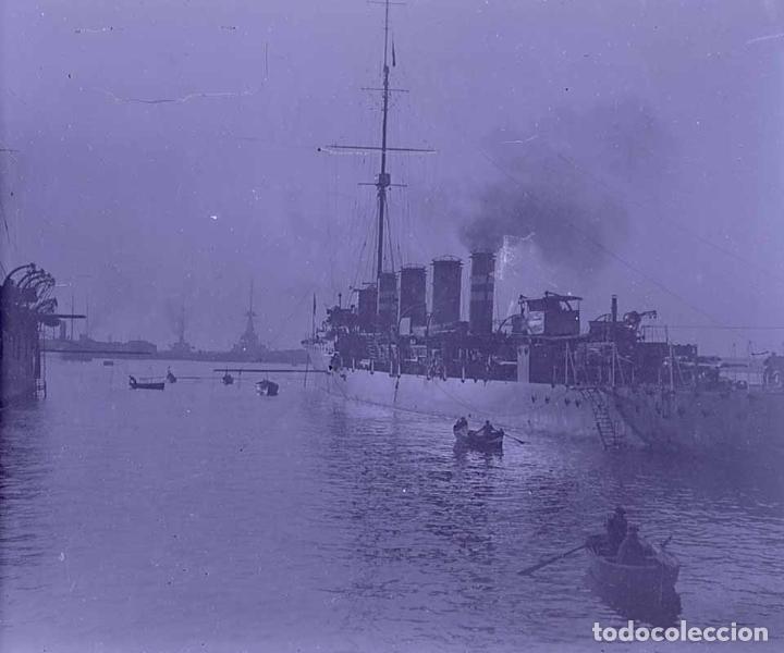 BARCELONA. PUERTO. BUQUE DE GUERRA. PRECIOSA FOTO. C. 1930 (Fotografía Antigua - Estereoscópicas)