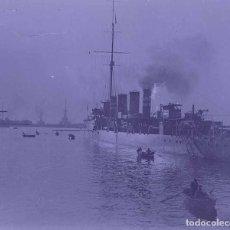 Fotografía antigua: BARCELONA. PUERTO. BUQUE DE GUERRA. PRECIOSA FOTO. C. 1930. Lote 178084399