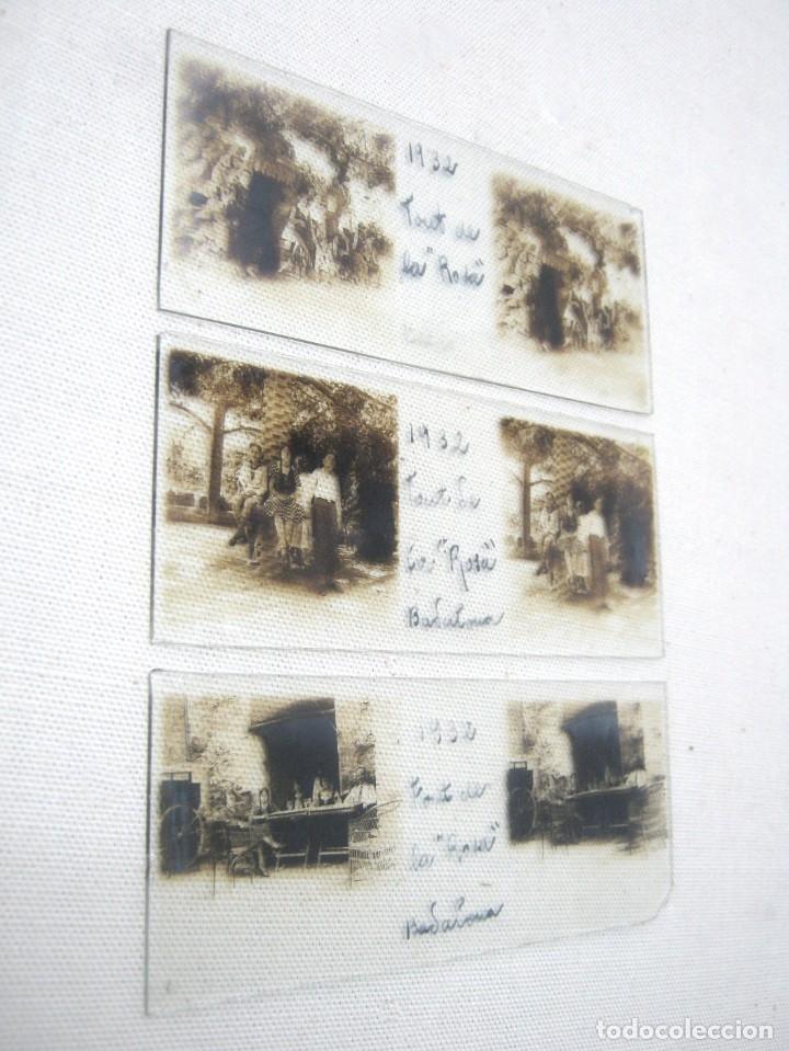 LOTE 3 FOTOGRAFÍA ANTIGUA ESTEREOSCOPICA CRISTAL AÑO 1932 - BADALONA . FONT DE LA ROSA CATALUÑA (Fotografía Antigua - Estereoscópicas)