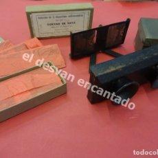 Fotografía antigua: CUEVAS DE ARTÁ. MALLORCA. 24 CRISTALES ESTEREOSCÓPICOS. INCLUYE VISOR EN CAJA DE SU ÉPOCA. Lote 179317412