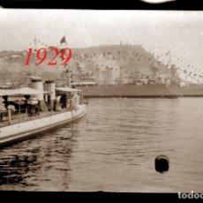 Fotografía antigua: PUERTO - BARCELONA - 1929 - 2 NEGATIVOS DE CELULOIDE. Lote 179320241