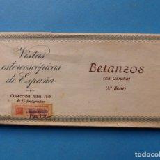 Fotografía antigua: BETANZOS LA CORUÑA - VISTAS ESTEREOSCOPICAS DE ESPAÑA- 1ª SERIE, COLECCION Nº 105 - 15 VISTAS RELLEV. Lote 179519466