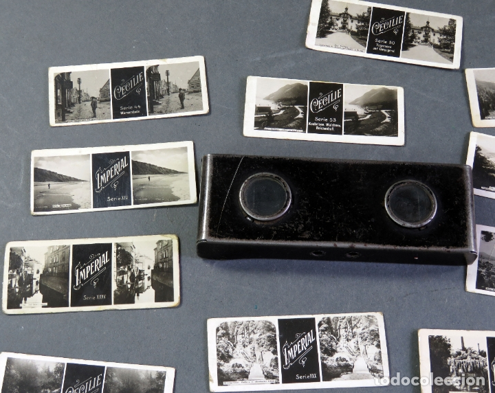 Fotografía antigua: Visor estereoscópico metal con 18 vistas estereoscópicas Imperial y Cecilie PP S XX - Foto 2 - 180476106