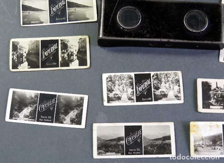 Fotografía antigua: Visor estereoscópico metal con 18 vistas estereoscópicas Imperial y Cecilie PP S XX - Foto 3 - 180476106
