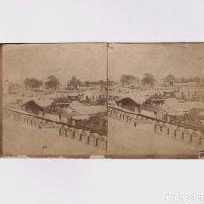 Fotografía antigua: BARCELONA - BAJADA DE MONTJUICH, 1860 APROX. ALBÚMINA ESTEREO 8,5X17,5 CM.. Lote 187148501