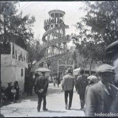 Fotografía antigua: ALCOY LA FERIA EN LA GLORIETA NEGATIVO CRISTAL ESTEREOSCOPICO. Lote 189136122