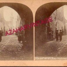 Fotografía antigua: ANTIGUA FOTOGRAFIA ESTEROSCOPICA, JERUSALEN, VIA DOLOROSA, HIJOS DE SION. Lote 191829838