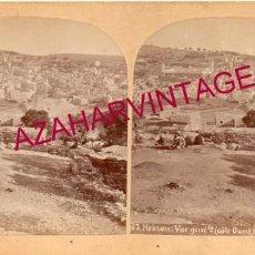 Fotografía antigua: ANTIGUA FOTOGRAFIA ESTEROSCOPICA, HEBRON, PALESTINA, VISTA DESDE EL OESTE. Lote 191830137