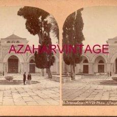 Fotografía antigua: ANTIGUA FOTOGRAFIA ESTEROSCOPICA, JERUSALEN, MEZQUITA EL-AKSA. Lote 191830408