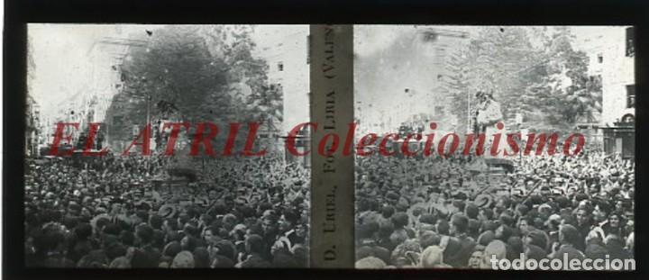 VALENCIA, CORONACION VIRGEN DESAMPARADOS ALAMEDA - POSITIVO EN CRISTAL ESTEREOSCOPICO - AÑO 1923 (Fotografía Antigua - Estereoscópicas)