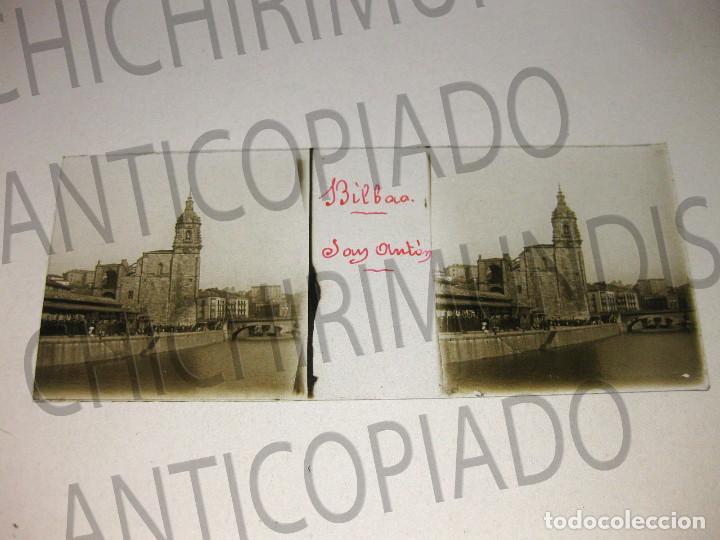 Fotografía antigua: Lote de 17 placas estereoscópicas de Bilbao. Animadas. Fotógrafo M. Riaza. - Foto 20 - 194073763
