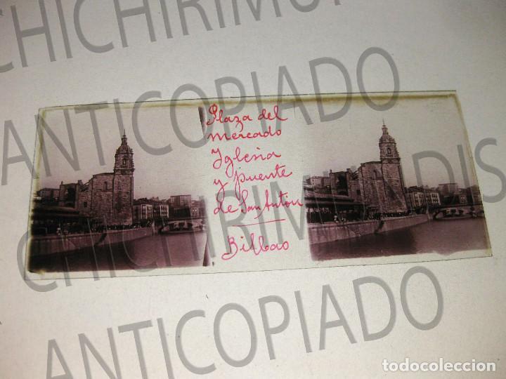 Fotografía antigua: Lote de 17 placas estereoscópicas de Bilbao. Animadas. Fotógrafo M. Riaza. - Foto 21 - 194073763